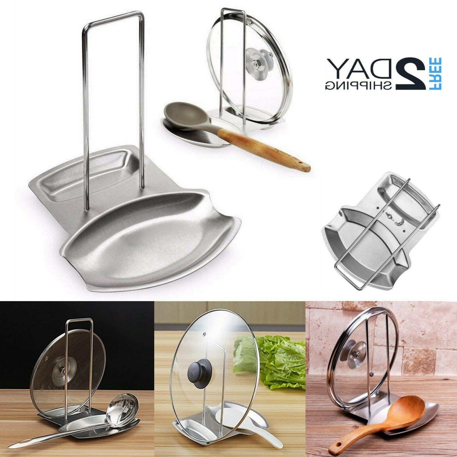pot lid stand holder spoon