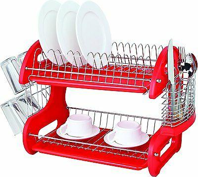 Home Basics Red 2 Tier Saver Dish Drying Drainer