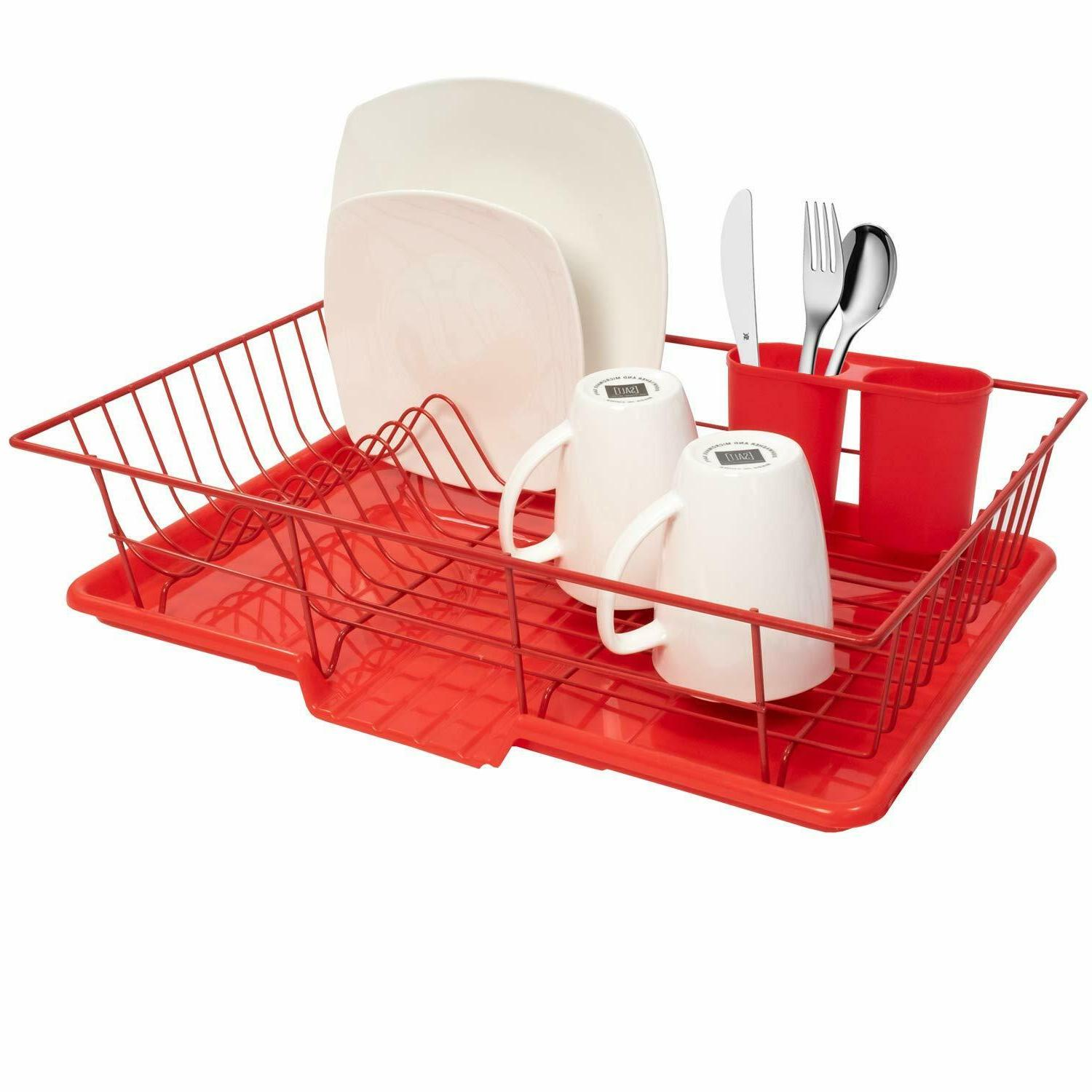 red dish drying rack drainer dishes utensils