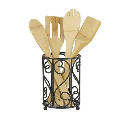 scroll collection black wire cutlery and utensil