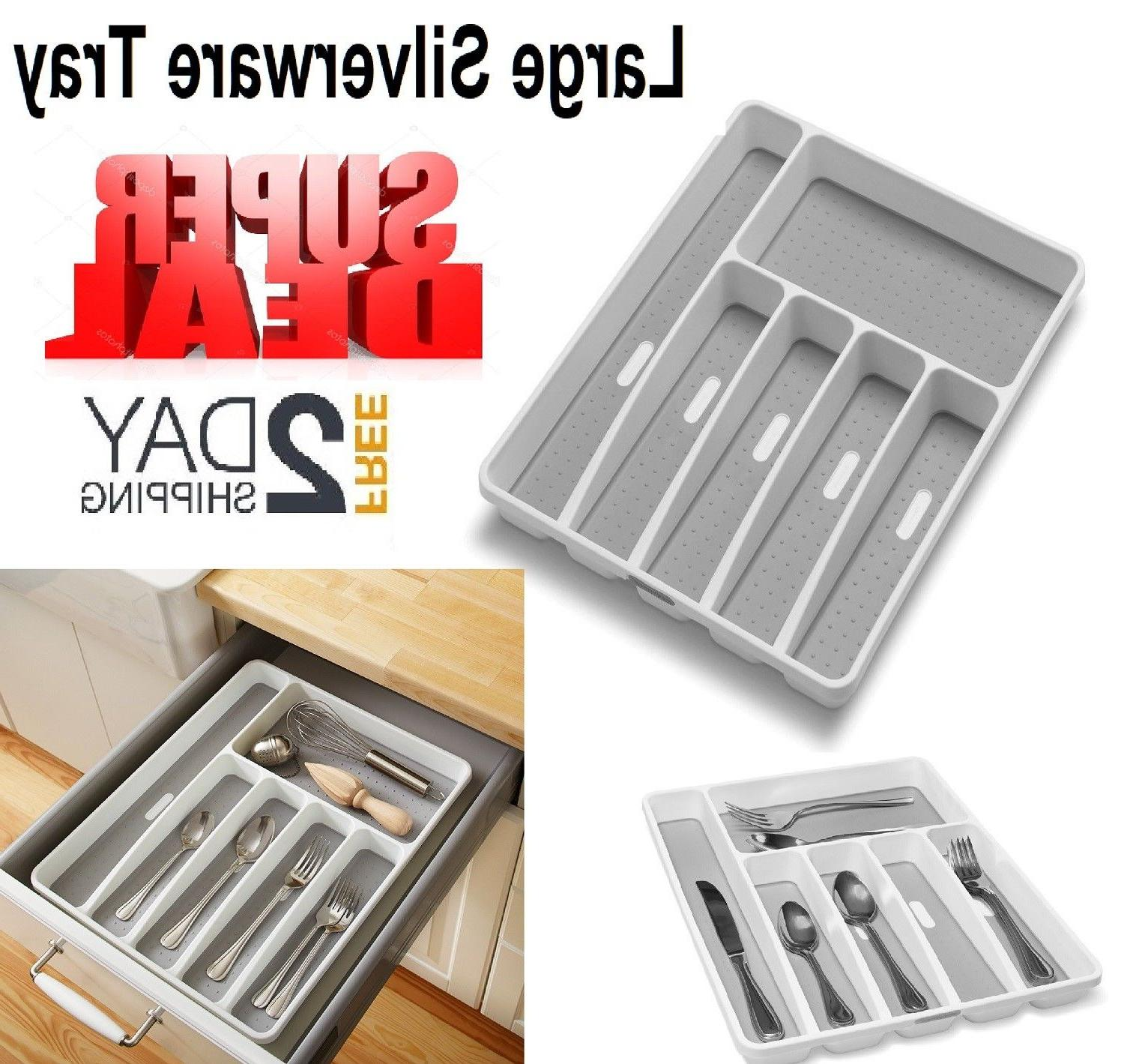 Silverware Drawer Organizer Tray Kitchen Storage Holder Flat