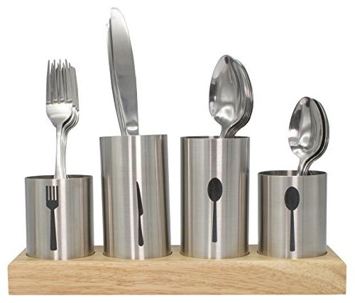 Sorbus Silverware Holder Forks, etc — for Dining, Buffet, — Stainless Steel with Bamboo Base