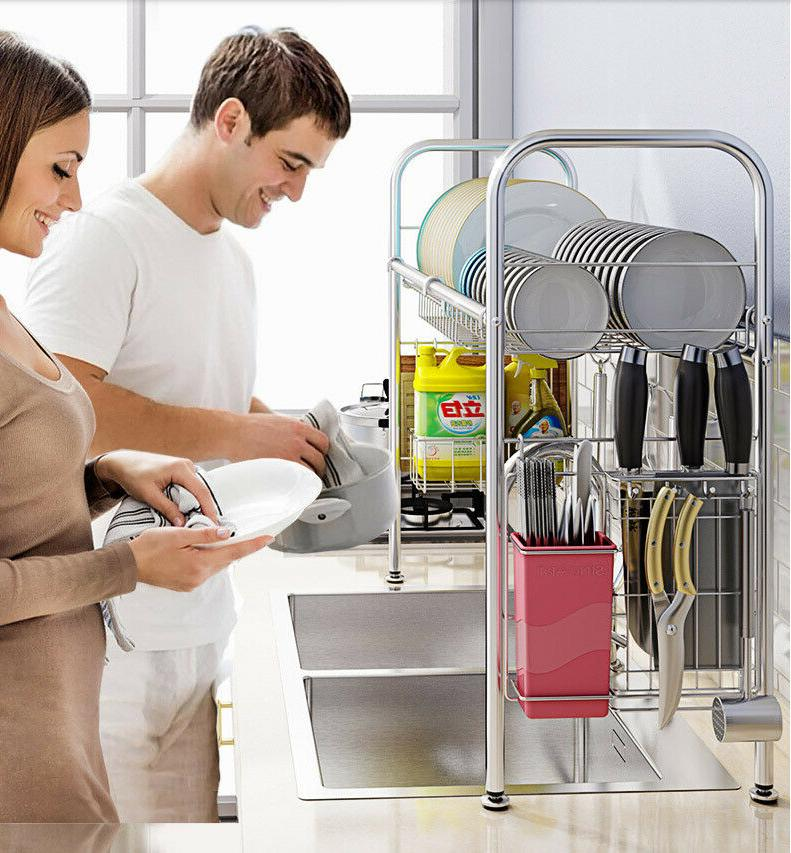 Single Dish Racks Over Sink Drainer with Kitchen Utensil