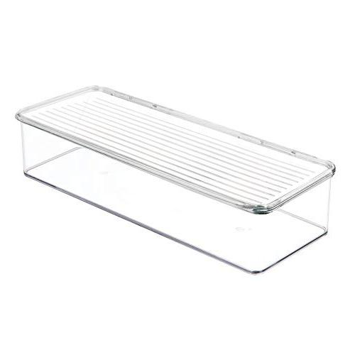 mDesign Stackable Cabinet/Refrigerator Food Container Bin, Lid Organizer Packets, Produce, Pasta - BPA Free, Food