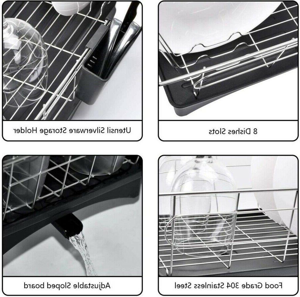 Stainless Drying Rack Sink Drainer Bowl Shelf Kitchen Cutlery Holder