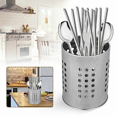Stainless Steel Utensil Container Flatware Cylinder Caddy Holder