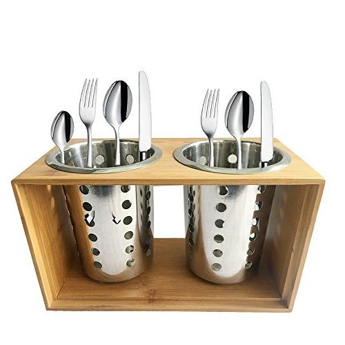 Stainless Steel Kitchen Utensil With Holder Cutlery ︳Organise your Flatware for Picnic