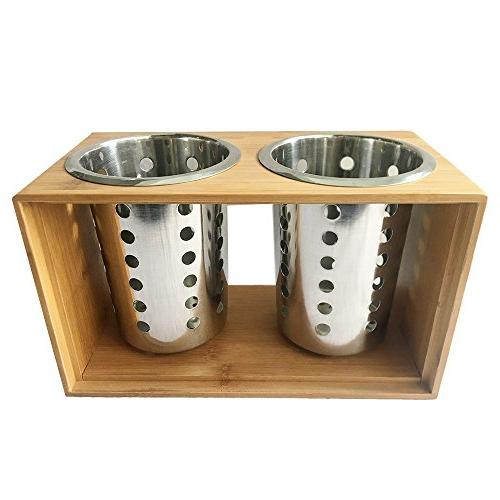 Stainless Utensil Holder Kitchen Cooking Utensil Holders With Wooden Holder Cutlery Holder your for Dining, Picnic