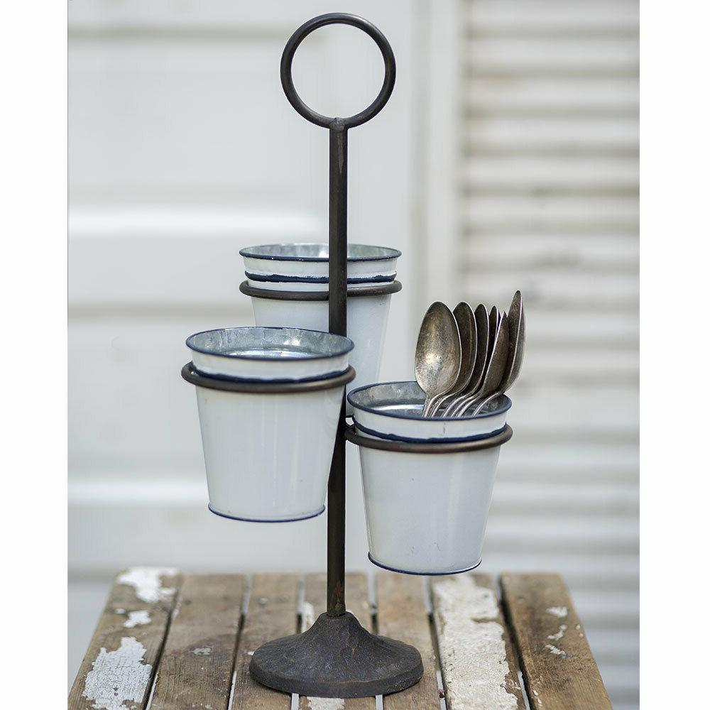 three bucket stand cast iron and enamelware