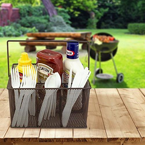 Sorbus Silverware, Napkin Holder, and Condiment Steel Mesh Caddy—Ideal Kitchen, Picnics, and much