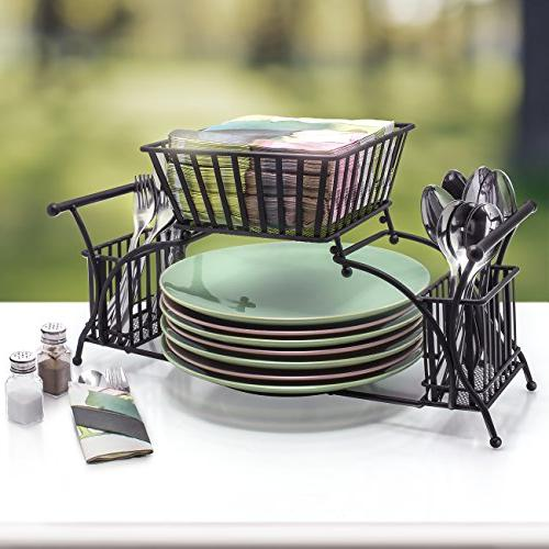 Sorbus Caddy Plate Holder — Flatware Tabletop — Ideal for Table, Party, Entertaining