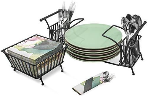 Use For Cutlery, Plate Stackable Flatware Caddy, Organizer — Ideal for Table, Party, Buffet, Entertaining