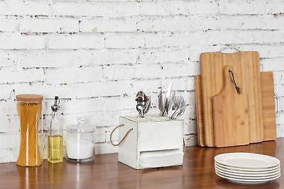 MyGift Wood 4-Compartment Caddy Napkin