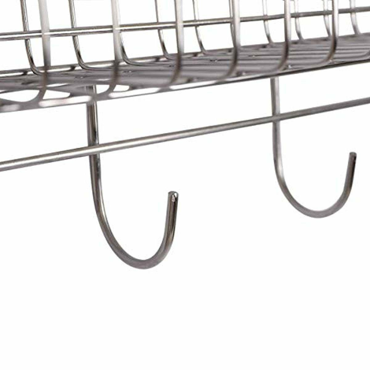Wall Kitchen Rack Organizer With Utensil Hooks Chrome