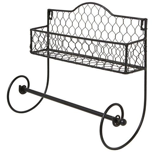 MyGift Wall Black Metal Rack Paper Holder/Bathroom Bar