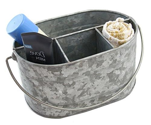 "Well Pack Galvanized Bucket 12"" 10"" Decor Drink Caddy Serveware Utensil Picnic Metal Farmhouse Rustic Holder Great Parties,"