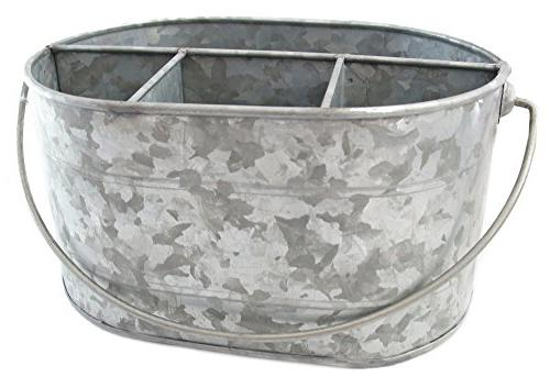 "Well Pack Box Large Galvanized 10"" x 6"" Steel Decor Drink Serveware Organizer Utensil Picnic Metal Farmhouse Rustic Great for Parties, Picnics,"