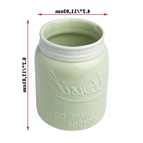 """Comfify Mouth Jar Utensil Holder Resistant Dishwasher - Caddy Green, Large Size 7"""" High"""