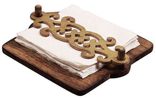 wooden napkin holder golden