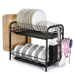Large Capacity Dish Rack 2 Tier w/ Utensil Holder Drainer Dr