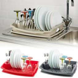 Large Plastic Dish Plate Utensil Drainer Rack Kitchen Washin