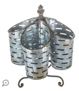 Large Roatating Olive Bucket Caddy Utensil Holder Party Tray