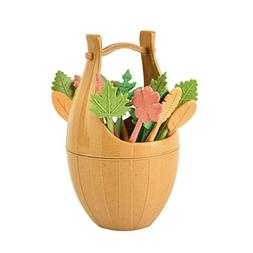 Fullfun Leaves Fruit Fork Set With Wooden Barrel Holder, Cre