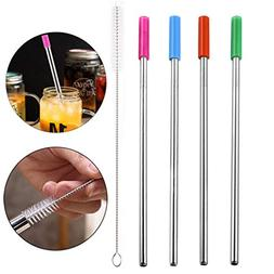 YJYDADA Long Stainless Steel Metal Drinking Straws With Clea
