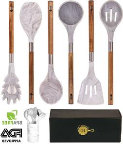 Marble Silicone Kitchen Utensil Set Holder Cookware With Ac