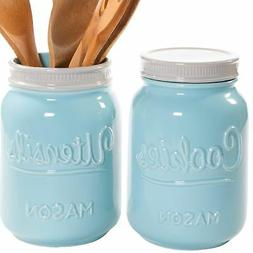 Mason Cookie Jar & Utensil Holder Set - Large Airtight Ceram