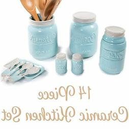 Mason Jar Kitchen Utensil Set - Includes Cookie Jar, Utensil