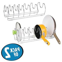 mDesign Metal Wire Pot and Pan Organizer Rack for Kitchen Ca