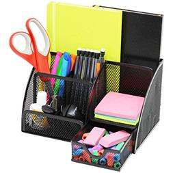 Mesh Office Desk Organizer with 3 Compartments + 3 Slots + D