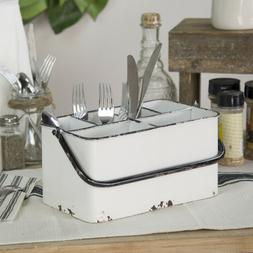 Metal Utensil Holder Caddy Distressed White Farmhouse Picnic