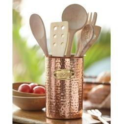 Mud Pie ML7 Bungalow Kitchen Cooking Copper Utensil Caddy Ho
