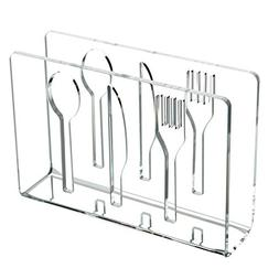 Modern Clear Acrylic Cut-Out Utensil Design Upright Tabletop