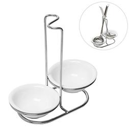 Modern White Ceramic Kitchen Double Ladle Spoon Rest Holder