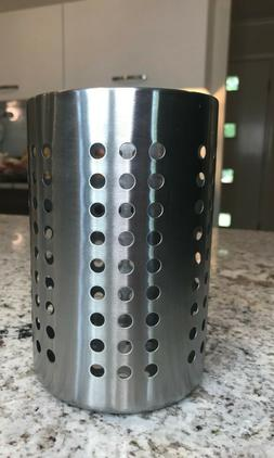 "NEW Ikea 7"" Utensil Holder Stainless Steel Cutlery Caddy"