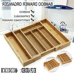 New Expandable Bamboo Cutlery Holder Utensil Tray Office Des