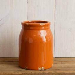 New Farmhouse Rustic ORANGE UTENSIL HOLDER CROCK Jug Jar