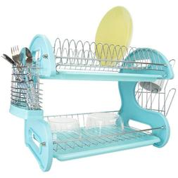 New Home Basics Plastic Dish Drainer 2-Tier - Turquoise / Bl