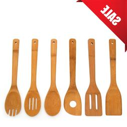 Organic Bamboo Kitchen Utensils with Holder by Khonos - Set