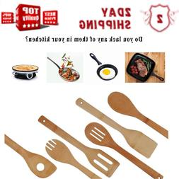 Organic Bamboo Utensil Set,Wooden Cooking Spoons and Spatula