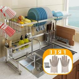 Over The Sink Dish Drying Rack Drainer Shelf Silver Utensil