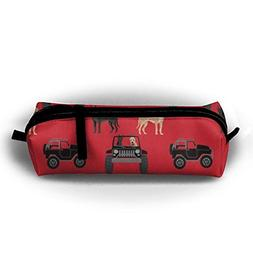Zx7CAp3 Great Dane In Jeeps Cute Dogs Black And Red Pen Bag