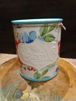 Pioneer Woman Utensil Holder Crock  Stoneware -Garden Blue T