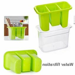 Plastic Utensil Holder With 3 Compartment And Cutlery Tray D
