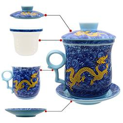 Tea Talent Porcelain Tea Cup with Infuser Lid and Saucer Set