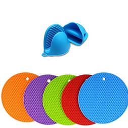 5 X Hot Pot Holders and Oven Mitts Silicone Trivet Set, Mult
