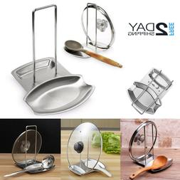 Pot Lid Stand Holder And Spoon Rest Stainless Steel Cooking
